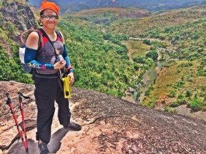 At the summit, overlooking the Manalmon river.  Partially seen on the left is Mt. Gola.